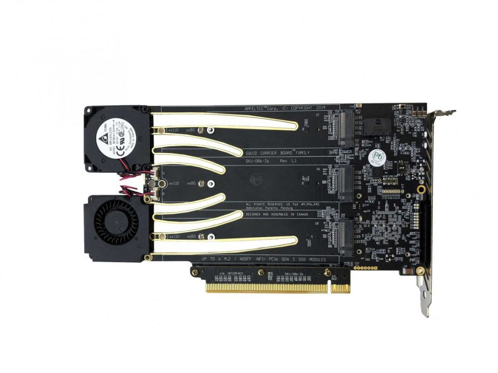 PCI Express Gen 3 Carrier Board for 6 M 2 or NGSFF (NF1